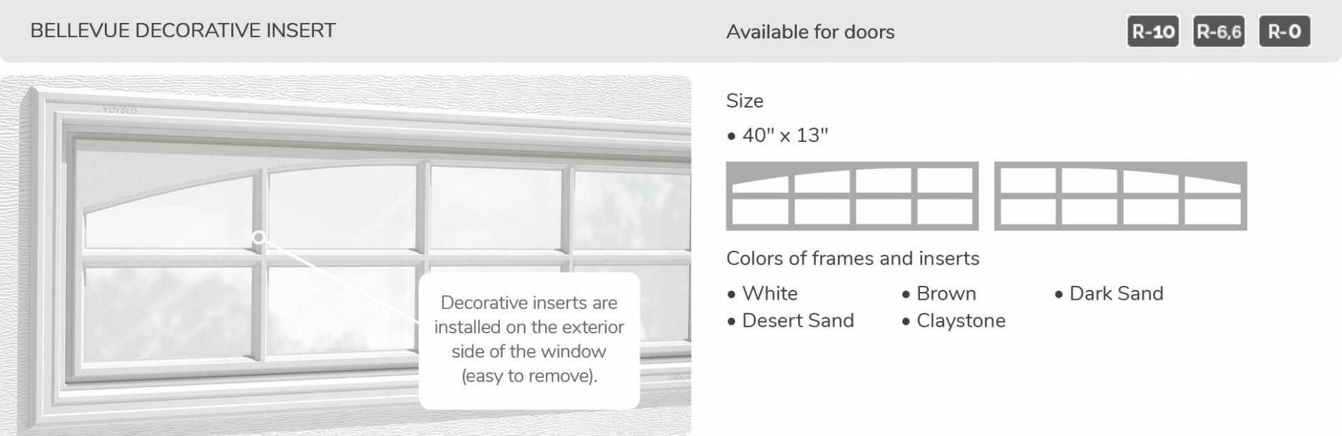 Bellevue Decorative Insert, 40' x 13', available for doors R-10, R-6.6, R-0