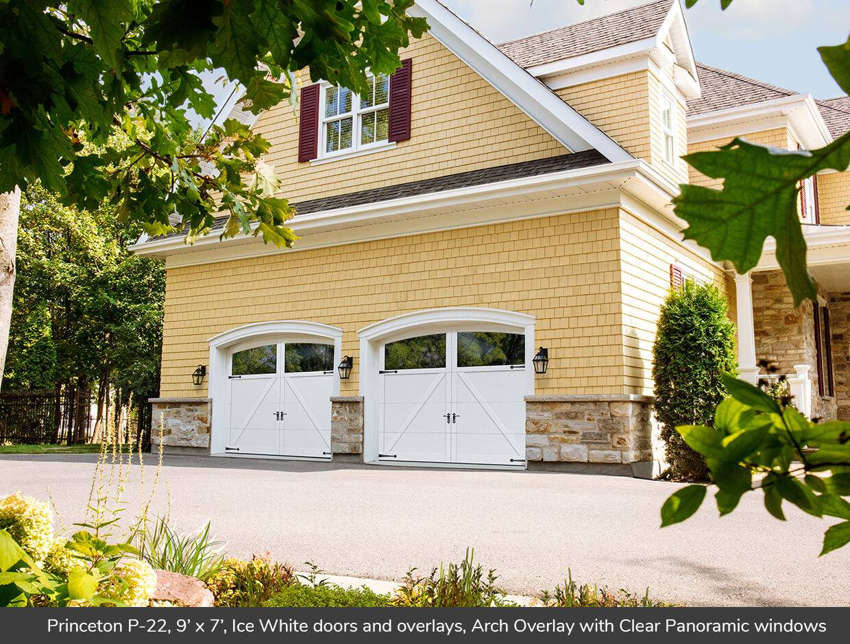 Princeton P-22, 9' x 7', Ice White doors and overlays, Arch Overlays with Clear Panoramic windows